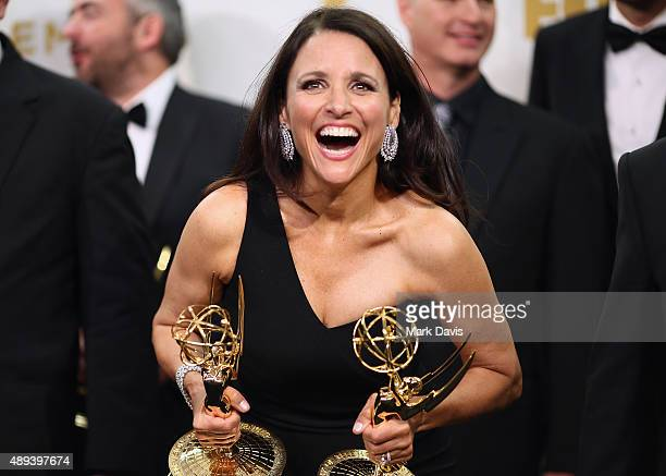 Actress Julia Louis-Dreyfus, winner of the awards for Outstanding Lead Actress in a Comedy Series for 'Veep' and Outstanding Comedy Series for...