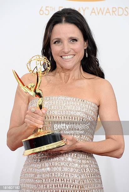 "Actress Julia Louis-Dreyfus, winner of the Best Lead Actress In A Comedy Seriers Award for ""Veep"" poses in the press room during the 65th Annual..."