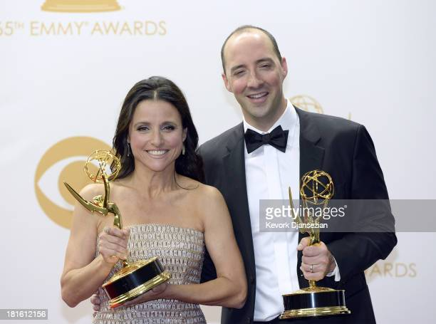 Actress Julia Louis-Dreyfus, winner of the Best Lead Actress In A Comedy Seriers Award for 'Veep' and actor Tony Hale, winner of the Best Supporting...