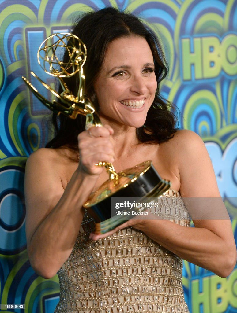 Actress Julia Louis-Dreyfus, winner of the Best Lead Actress In A Comedy Seriers Award for 'Veep,' attends HBO's Annual Primetime Emmy Awards Post Award Reception at The Plaza at the Pacific Design Center on September 22, 2013 in Los Angeles, California.
