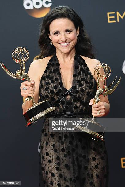 Actress Julia Louis-Dreyfus, winner of the Oustanding Lead Actress in a Comedy Series award for 'Veep,' poses in the 68th Annual Primetime Emmy...