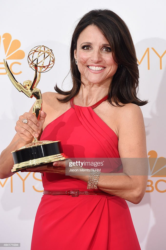 Actress Julia Louis-Dreyfus, winner of the Outstanding Lead Actress in a Comedy Series Award for Veep (Episode: 'Crate'), poses in the press room during the 66th Annual Primetime Emmy Awards held at Nokia Theatre L.A. Live on August 25, 2014 in Los Angeles, California.