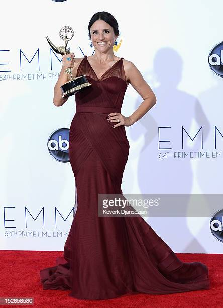 Actress Julia LouisDreyfus winner Outstanding Lead Actress in a Comedy Series for 'Veep' poses in the press room during the 64th Annual Primetime...