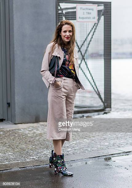 Actress Julia Malik outside Malaikaraiss during the MercedesBenz Fashion Week Berlin Autumn/Winter 2016 at Brandenburg Gate on January 20 2016 in...
