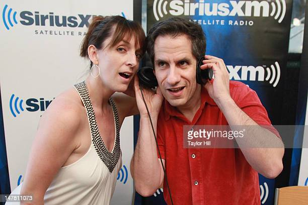 Actress Julia Murney and SiriusXM host Seth Rudetsky pose at SiriusXM Studios on July 2 2012 in New York City