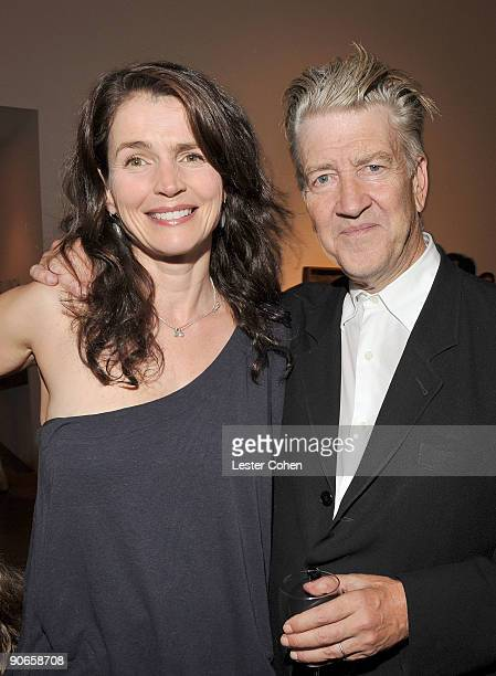 Actress Julia Ormond and artist/filmmaker David Lynch attend the David Lynch New Paintings Exhibit Event at Griffin LA on September 12 2009 in Santa...