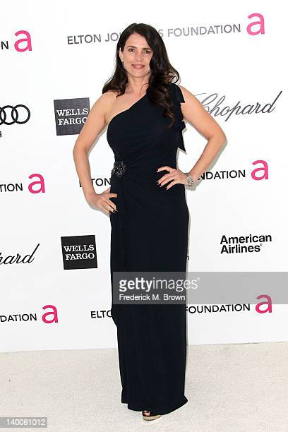 Actress Julia Ormond arrives at the 20th Annual Elton John AIDS Foundation's Oscar Viewing Party held at West Hollywood Park on February 26 2012 in...