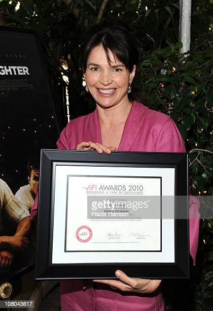 Actress Julia Ormond poses with Year of Excellance Award for Temple Grandin at the Eleventh Annual AFI Awards presentation at the Four Seasons Hotel...