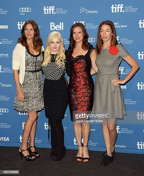 Actress Julia Roberts actress Abigail Breslin actress Juliette Lewis and actress Julianne Nicholson attend August Osage County Press Conference...