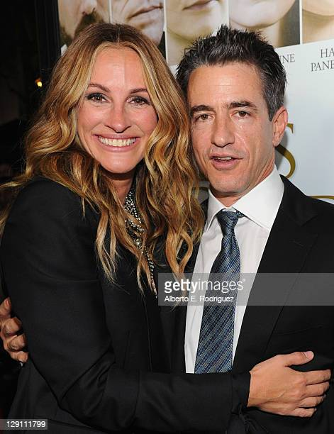 Actress Julia Roberts and actor Dermot Mulroney arrive at the Fireflies In The Garden Premiere at Pacific Theaters at the Grove on October 12 2011 in...