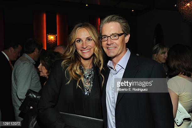 Actress Julia Roberts and actor Kyle MacLachlan attend the 'Fireflies In The Garden' Premiere after party at The Whisper Lounge on October 12 2011 in...
