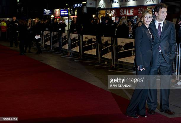 US actress Julia Roberts and British actor Clive Owen arrive at the world premier of the movie Duplicity at the Empire Cinema in Leicester Square...