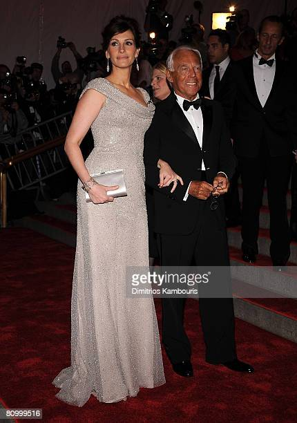 Actress Julia Roberts and designer Giorgio Armani attend the Metropolitan Museum of Art Costume Institute Gala Superheroes Fashion And Fantasy at the...