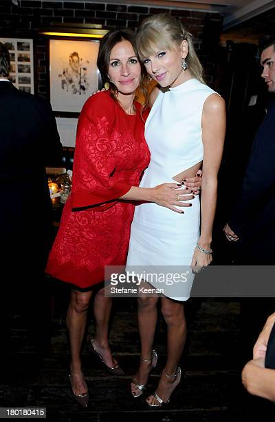 Actress Julia Roberts and singer Taylor Swift at the Grey Goose vodka party for The Weinstein Company and eOne Entertainment's August Osage County...