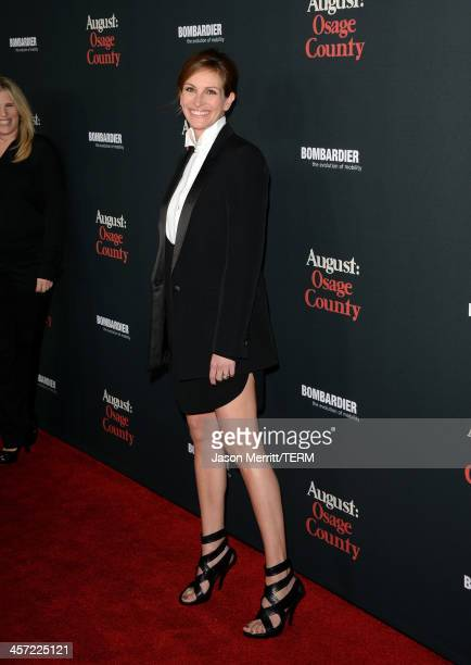 Actress Julia Roberts arrives at the premiere of The Weinstein Company's August Osage County at Regal Cinemas LA Live on December 16 2013 in Los...