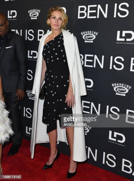 US actress Julia Roberts attends the Ben Is Back New York premiere at AMC Loews Lincoln Square on December 3 2018 in New York City