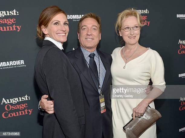 Actress Julia Roberts CAA Managing Partner Kevin Huvane and actress Meryl Streep attend the LA premiere Of August Osage County presented by The...