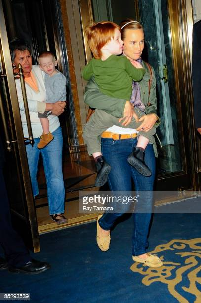 Actress Julia Roberts' children Henry Daniel Moder and Phinnaeus Walter Moder leave the RitzCarlton Hotel on March 7 2009 in New York City