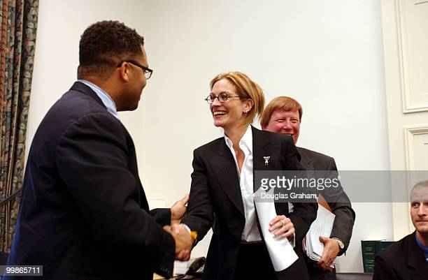 Actress Julia Roberts greets Jesse L Jackson Jr DIL before the start of the House Labor Health Human Services and Education Appropriations...