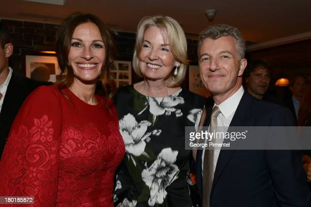 Actress Julia Roberts Hilary M Weston and President of Gucci North America Christophe de Pous attend the August Osage County TIFF Party Hosted By The...