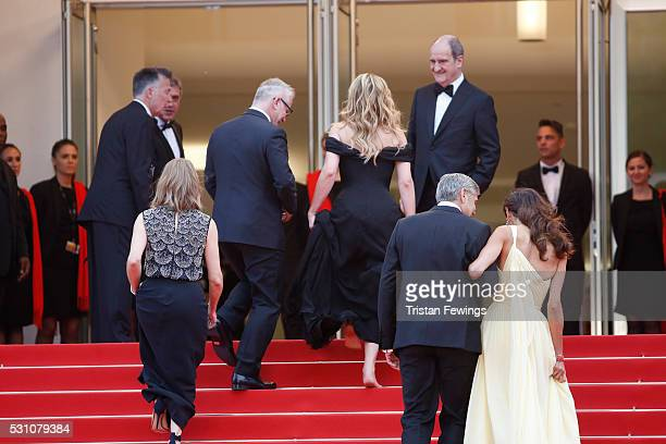 Actress Julia Roberts producer Jodie Foster actor George Clooney and his wife Amal Clooney and the president of the festival Pierre Lescure attend...