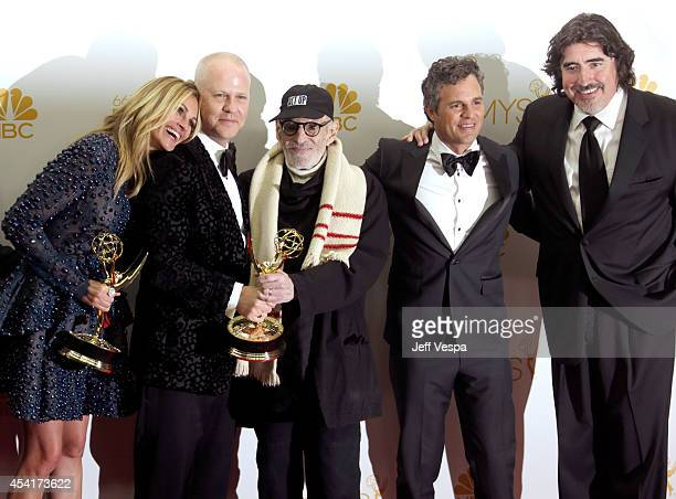 Actress Julia Roberts producer/director Ryan Murphy writer Larry Kramer actor Mark Ruffalo and actor Alfred Molina pose in the press room during the...