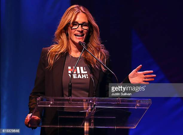 Actress Julia Roberts speaks during the Hillary Victory Fund Stronger Together concert at St James Theatre on October 17 2016 in New York City...