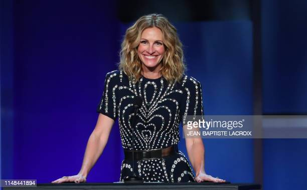 Actress Julia Roberts speaks on stage during the 47th American Film Institute Life Achievement Award Gala at the Dolby theatre in Hollywood on June...