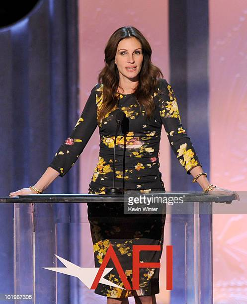 Actress Julia Roberts speaks onstage during the 38th AFI Life Achievement Award honoring Mike Nichols held at Sony Pictures Studios on June 10 2010...