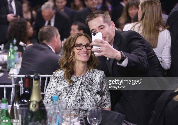 Actress Julia Roberts with Champagne Nicolas Feuillatte attends the 19th Annual Critics' Choice Movie Awards at Barker Hangar on January 16 2014 in...