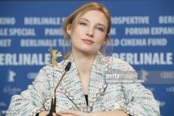 Actress Julia Roy attends the 'Eva' press conference during the 68th Berlinale International Film Festival Berlin at Grand Hyatt Hotel on February 17...
