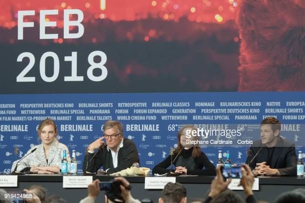 Actress Julia Roy director Benoit Jacquot actors Isabelle Huppert and Gaspard Ulliel attends the 'Eva' press conference during the 68th Berlinale...