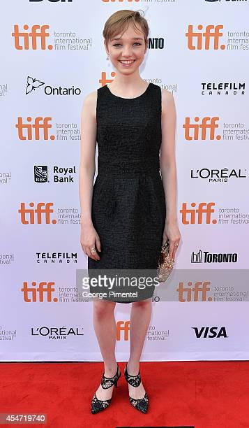 Actress Julia Sarah Stone attends The Drop premiere during the 2014 Toronto International Film Festival at Princess of Wales Theatre on September 5...