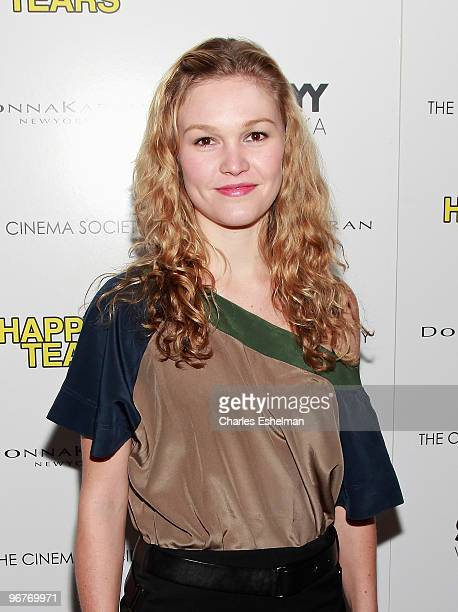Actress Julia Stiles attends a screening of 'Happy Tears' hosted by the Cinema Society and Donna Karan at The Museum of Modern Art on February 16...
