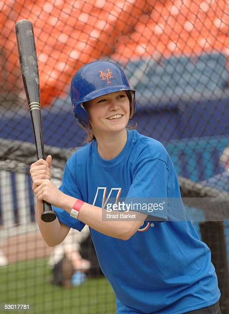 Actress Julia Stiles attends batting practice for Project A.L.S. At Shea Stadium on June 3, 2005 in the Flushing neighborhood of Queens, New York...
