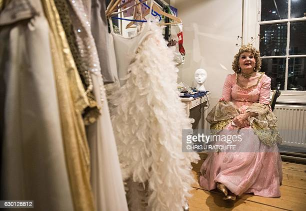 Actress Julia Sutton, who plays the character 'Virtue', sits in her dressing room before a performance of the pantomime 'Mother Goose' at Wilton's...