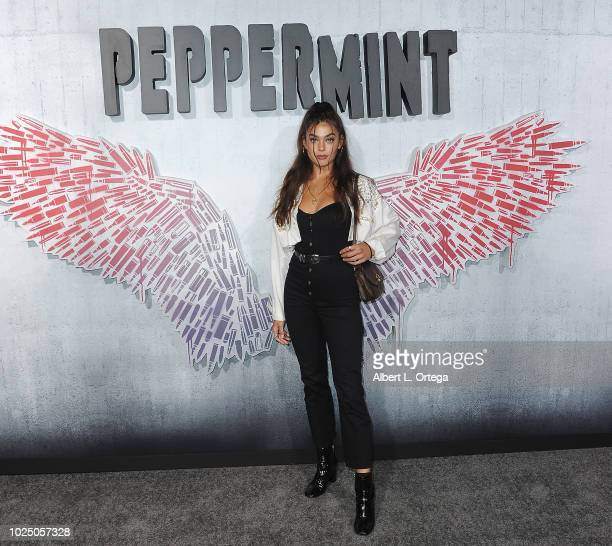 Actress Julian Acevedo arrives for the Premiere Of STX Entertainment's Peppermint held at Stadium 14 on August 28 2018 in Los Angeles California