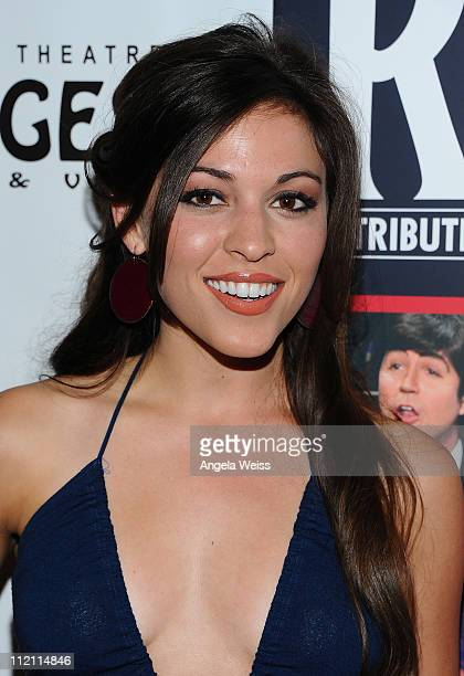 Actress Juliana Hansen arrives at the opening night of 'Rain A Tribute To The Beatles' at the Pantages Theatre on April 12 2011 in Hollywood...