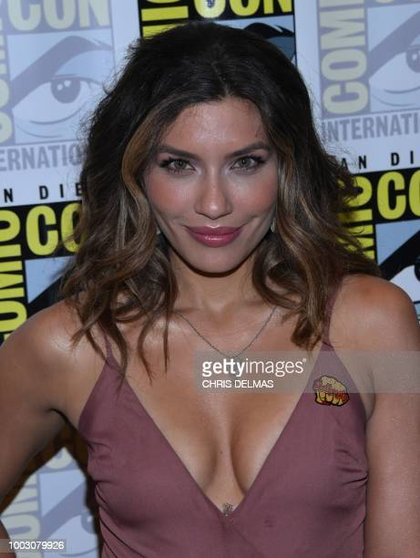 Actress Juliana Harkavy arrives for the press line of Arrow at Comic Con in San Diego July 21 2018