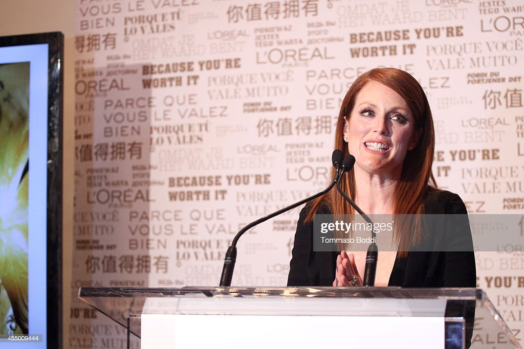 Actress Juliane Moore prepares with L'Oreal for the 'Still Alice' Premiere during the 2014 Toronto International Film Festival at the Shangri-La Hotel on September 8, 2014 in Toronto, Canada.