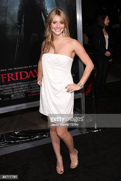 Actress Julianna Guill arrives on the red carpet for the Los Angeles premiere of 'Friday The 13th' at the Graumans Chinese Theater on February 09...