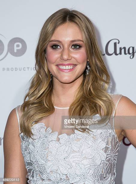 Actress Julianna Guill attends Bravo's Los Angeles premiere of Girlfriends Guide To Divorce at Ace Hotel on November 18 2014 in Los Angeles California