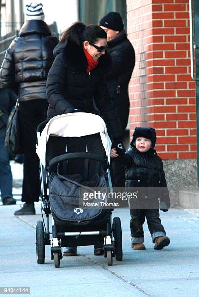 Actress Julianna Margulies and son Kieran Lindsay Lieberthal are seen walking on the streets of Manhattan on December 12 2009 in New York City