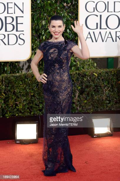 Actress Julianna Margulies arrives at the 70th Annual Golden Globe Awards held at The Beverly Hilton Hotel on January 13 2013 in Beverly Hills...