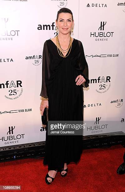 Actress Julianna Margulies attends the amfAR New York Gala to kick off Fall 2011 Fashion Week at Cipriani Wall Street on February 9 2011 in New York...