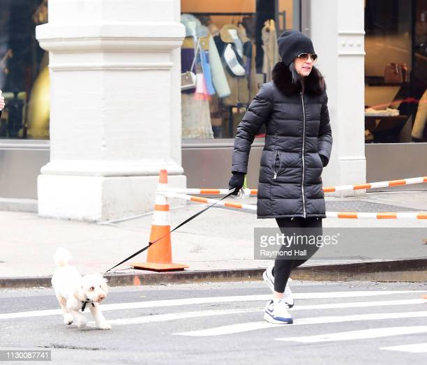 Actress Julianna Margulies is seen walking her dog in soho on March 12 2019 in New York City