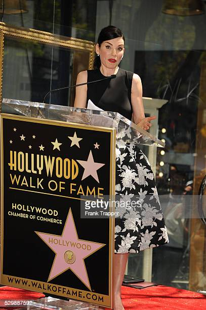 Actress Julianna Maugulies posing at the ceremony that honored her with a Star on the Hollywood Walk of Fame