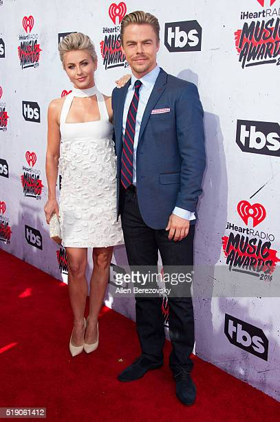 Actress Julianne Hough and dancer Derek Hough arrive at the iHeartRadio Music Awards at The Forum on April 3 2016 in Inglewood California