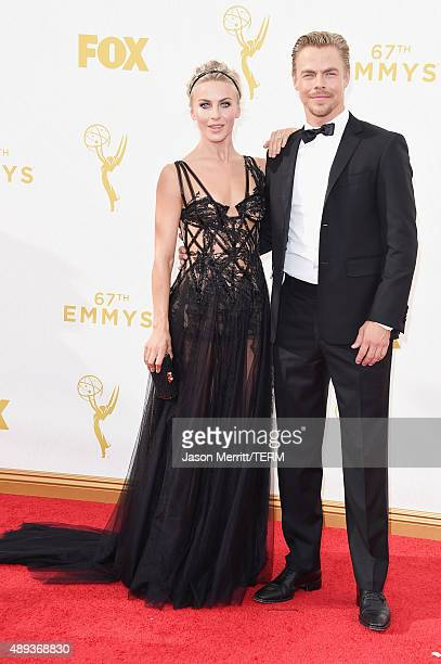 Actress Julianne Hough and professional dancer Derek Hough attend the 67th Annual Primetime Emmy Awards at Microsoft Theater on September 20, 2015 in...