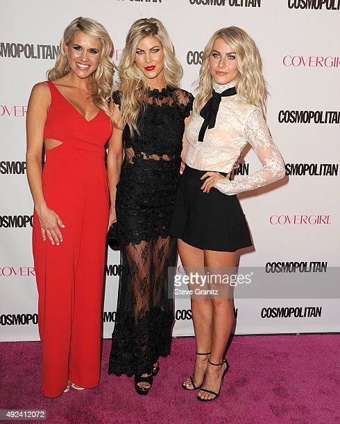 Actress Julianne Hough and sisters Sharee Hough and Marabeth Hough arrives at the Cosmopolitan Magazine's 50th Birthday Celebration at Ysabel on...
